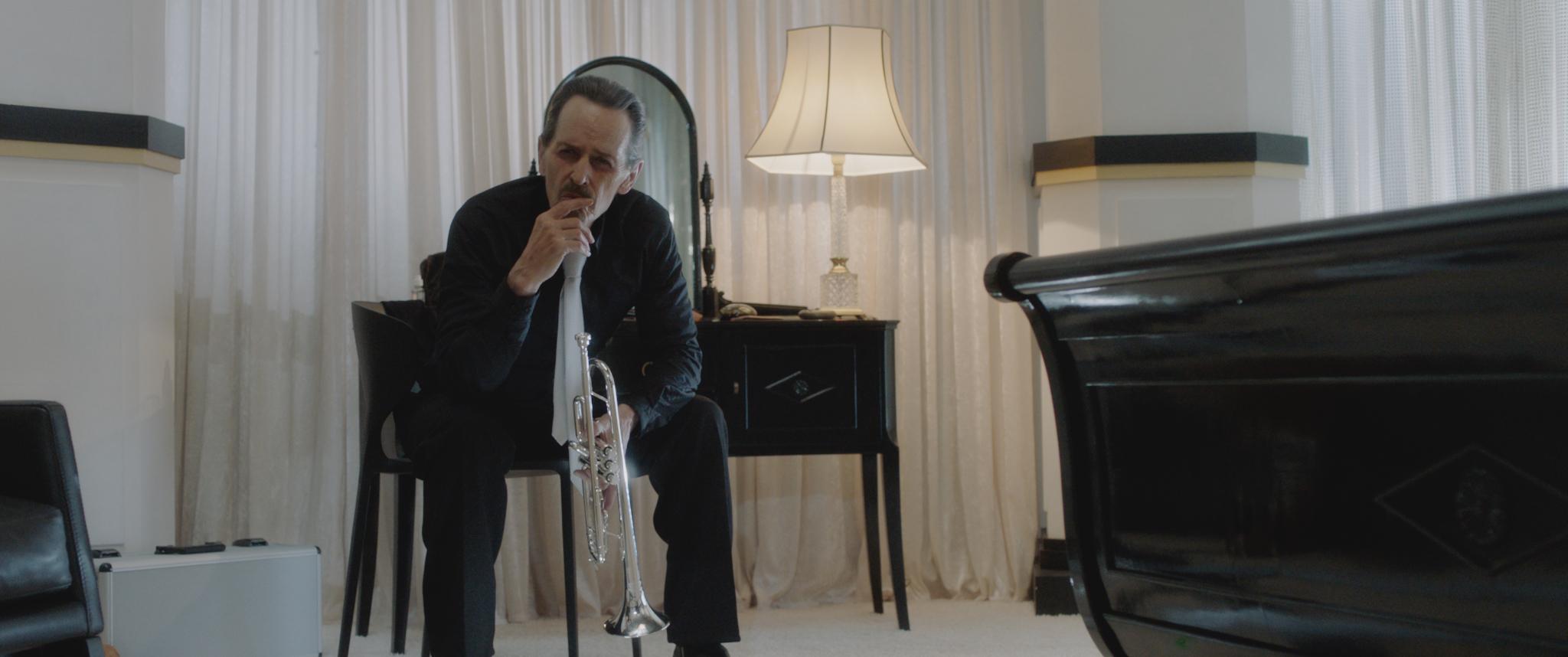 "Stephen McHattie as Trumpet Player in the horror/crime/thriller, ""DREAMLAND."""